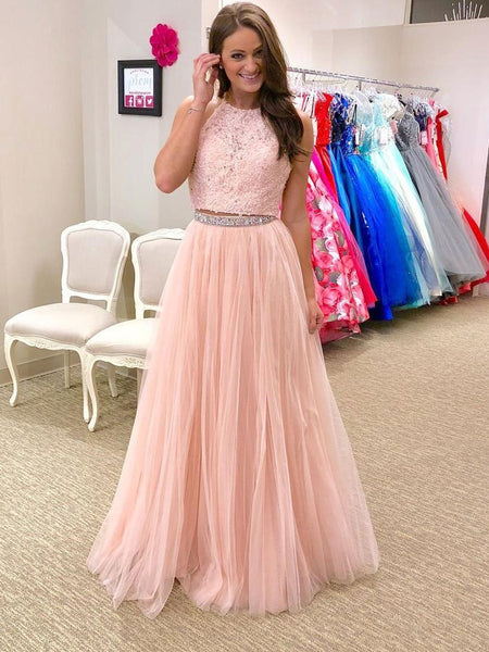 A Line Halter Neck Two Pieces Lace Beading Pink Prom Dresses, Pink Lace Formal Dresses, Pink Two Pieces Evening Dresses