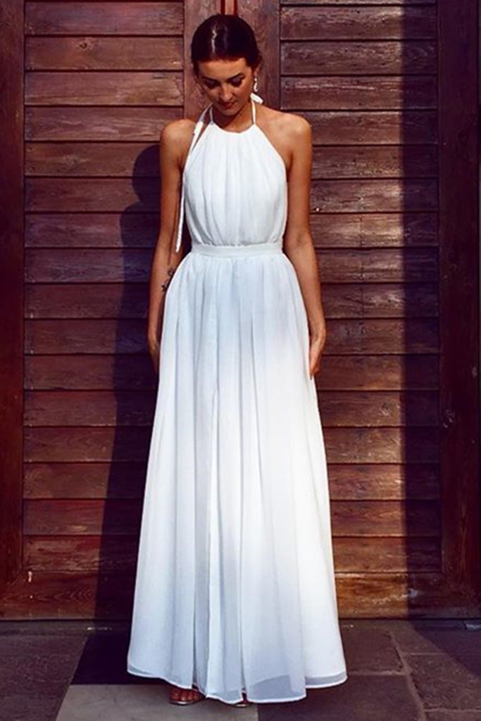 A Line Halter Neck White Long Prom Dress, Halter Neck White Formal Graduation Evening Dress, White Bridesmaid Dress