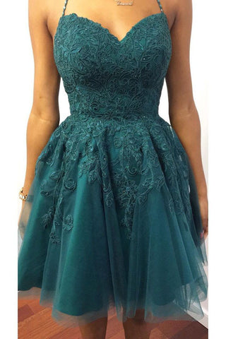 A Line Halter V Neck Backless Green Lace Short Prom Dress Homecoming Dress, Backless Lace Green Formal Graduation Evening Dress
