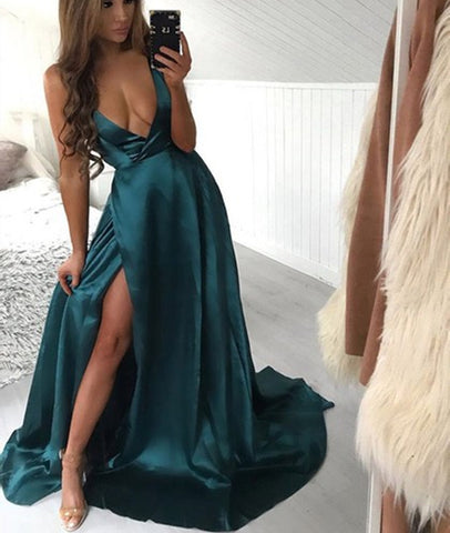 A Line Halter V Neck Backless Green Satin Long Prom Dresses with High Slit, V Neck Green Formal Dresses, Green Evening Dresses