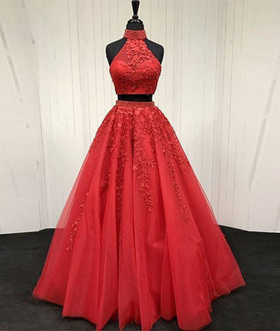A Line High Neck 2 Pieces Lace Red Long Prom Dress, Red Lace Long Evening Dress, Red Formal Dress
