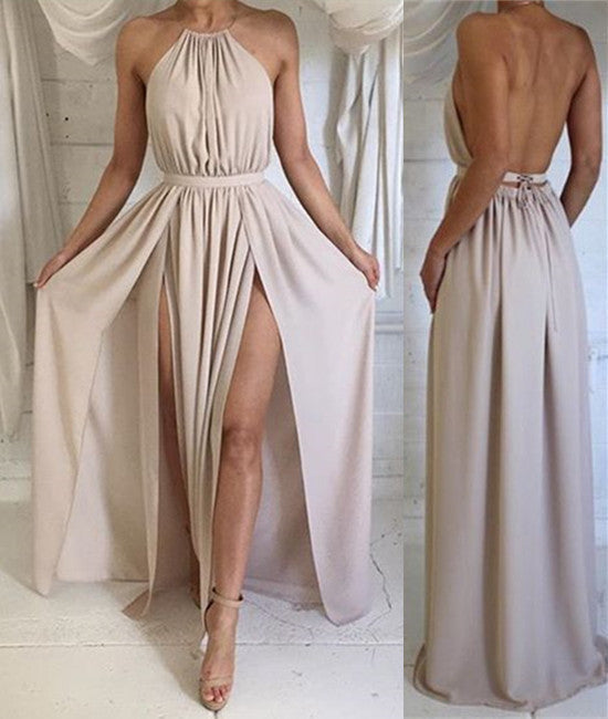 A Line High Neck Backless Chiffon Long Prom Dresses, Long Formal Dresses, Backless Bridesmaid Dresses