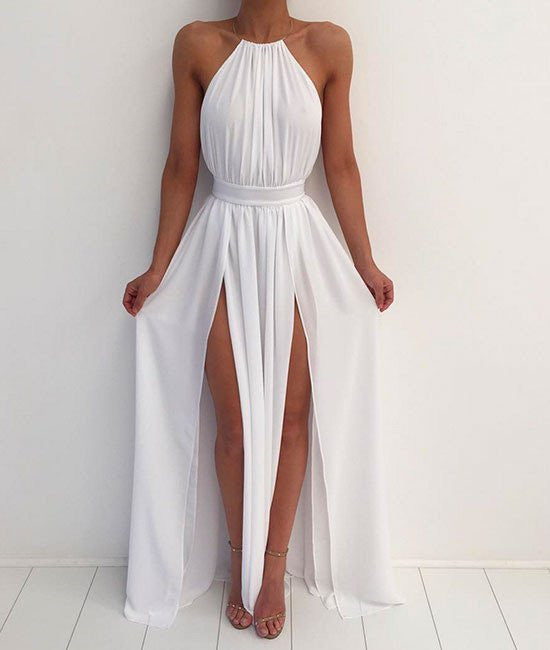 A Line High Neck Backless White Prom Dresses,