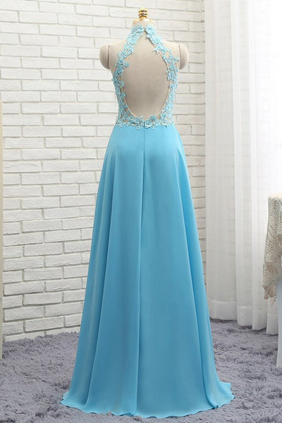 A Line High Neck Open Back Lace Chiffon Ruffles Blue Long Prom Dresses, Blue Lace Formal Dresses, Blue Lace Graduation Dresses