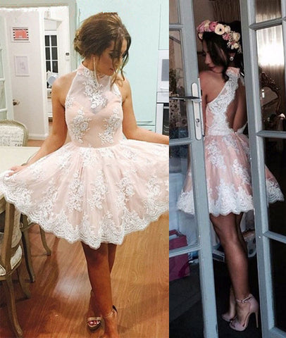 A Line High Neck Open Back Lace Pink Homecoming Dress, Pink Lace Short Prom Dress, Graduation Dress, Evening Party Dress