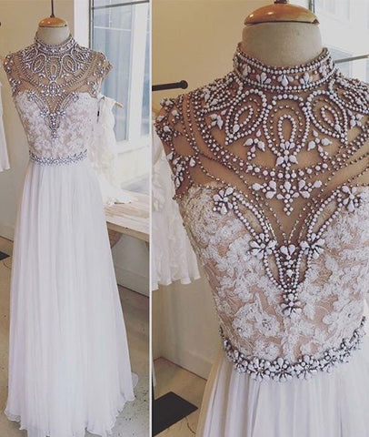 A Line High Neck Beaded White Lace Prom Dresses, Lace Formal Dresses, White Evening Dresses