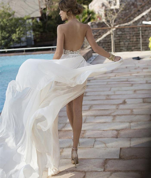A Line High Neck Backless White Lace Prom Dresses, Long Backless White Lace Formal Dresses