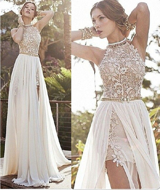 A Line High Neck Backless White Lace Prom Dresses, Long Backless ...