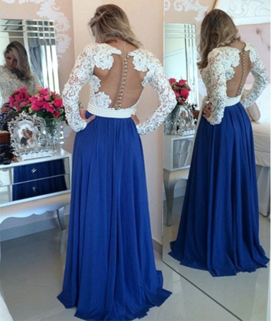 A Line Long Sleeves White Lace Blue Prom Dresses, Blue Evening ...