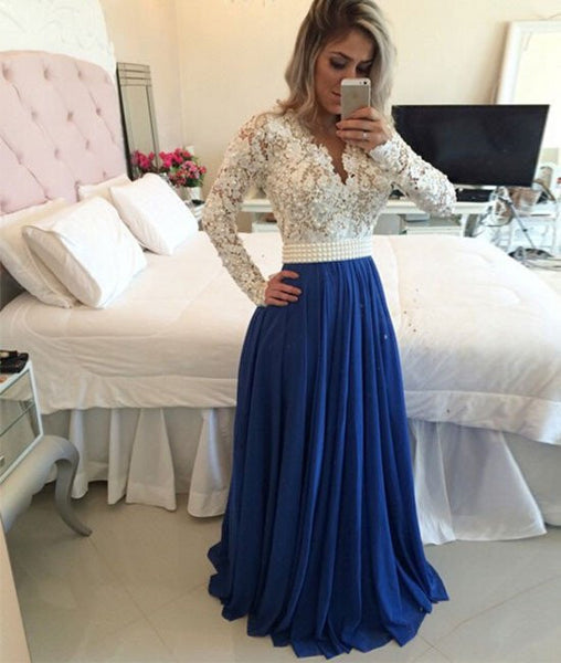 A Line Long Sleeved White Lace Blue Prom Dresses, Blue Evening Dresses