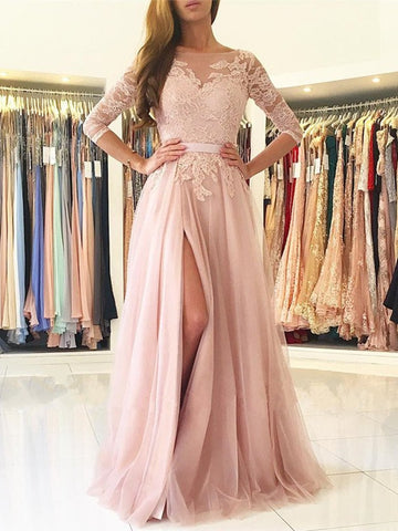 A Line Long Sleeves Backless Lace Pink Long Prom Dresses with High Slit, Long Sleeves Pink Lace Formal Dresses, Evening Dresses