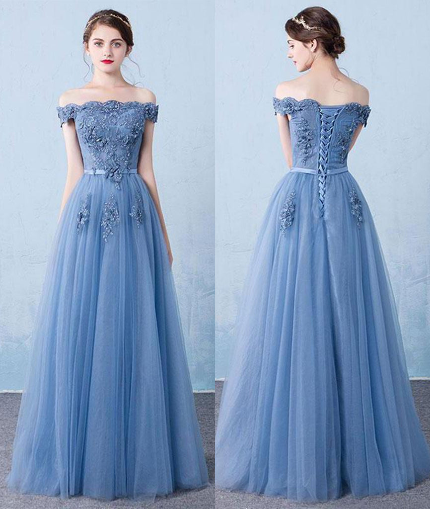 A Line Off Shoulder Lace Appliques Blue Tulle Long Prom Dresses, Blue Lace Formal Dresses, Blue Lace Graduation Dresses