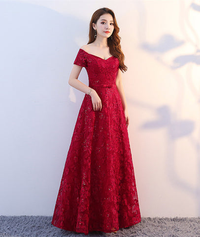 A Line Off Shoulder Lace Burgundy Prom Dresses, Burgundy Formal Dresses, Evening Dresses