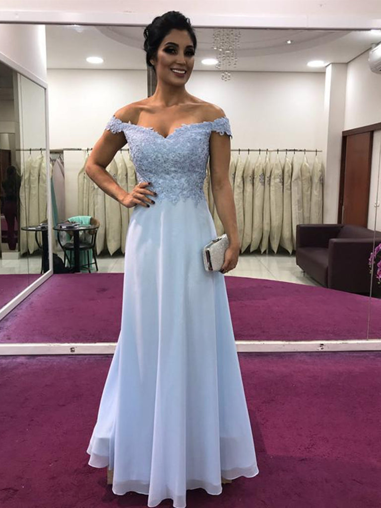 A Line Off Shoulder Lace Light Blue Prom Dresses, Off Shoulder Formal Dresses, Light Blue Evening Dresses
