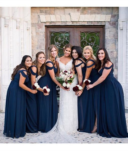 A Line Off Shoulder Navy Blue Long Prom Dresses, Navy Blue Bridesmaid Dresses