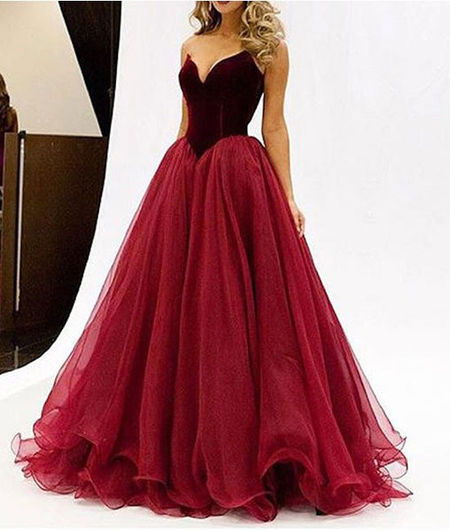 A Line Red Prom Dresses, Red Evening Dresses, Ball Gown