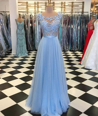 A Line Round Neck Blue Lace Appliques Tulle Long Prom Dresses, Blue Lace Graduation Dresses, Blue Evening Formal Dresses