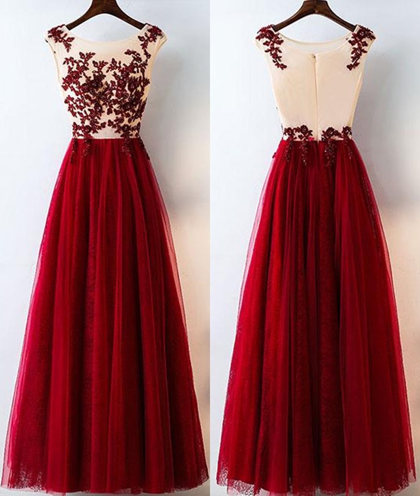 A Line Round Neck Burgundy Lace Tulle Long Prom Dress, Burgundy Lace Evening Dress, Burgundy Lace Graduation Dress