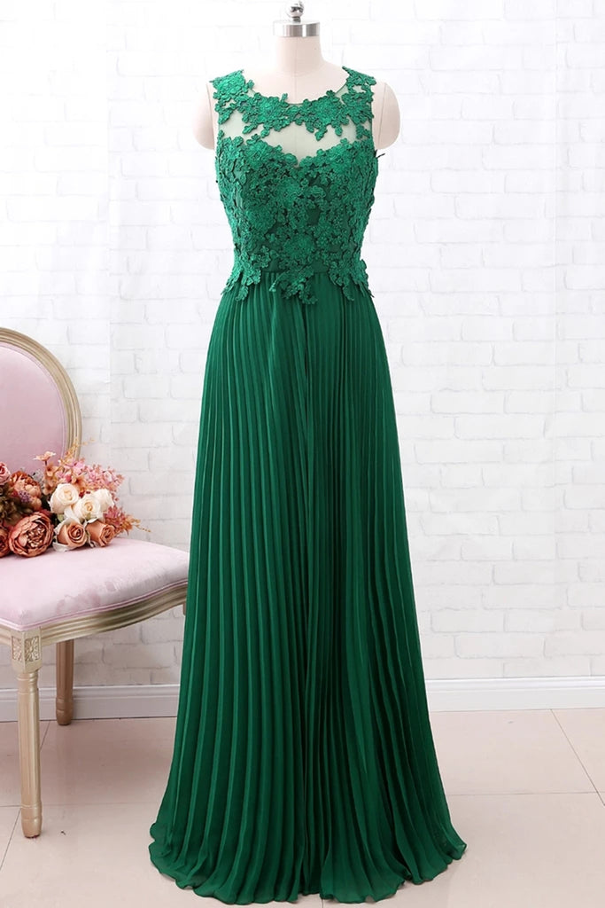 A Line Round Neck Green Lace Long Prom Dress Bridesmaid Dress, Open Back Lace Green Formal Dress, Green Lace Evening Dress