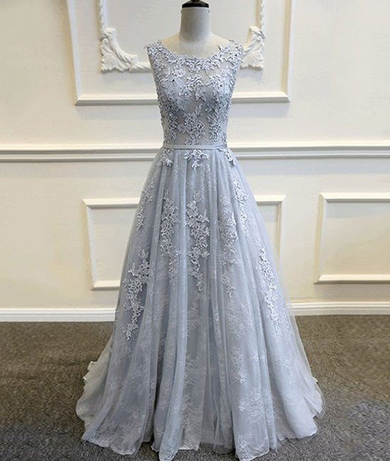 8398075f684 A Line Round Neck Lace Grey Prom Dresses, Lace Grey Formal Dresses