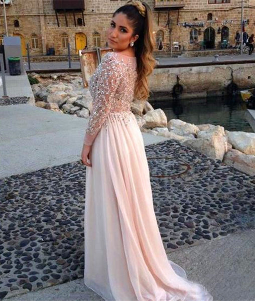A Line Round Neck Long Sleeves Sequins Prom Dresses, Round Neck Formal Dresses With Beadings