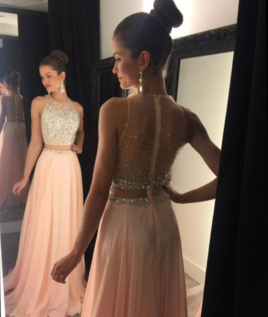 A Line Round Neck Two Pieces Pink Prom Dresses,