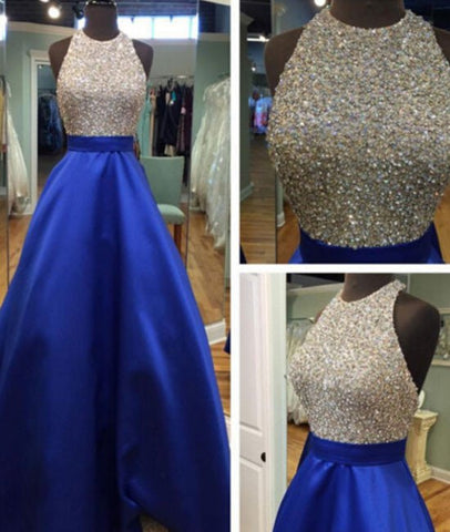A Line Round Neck Sequins Backless Blue Prom Dresses, Blue Formal Dresses, Backless Blue Evening Dresses