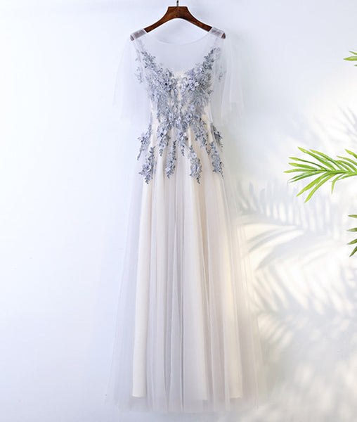 A Line Round Neck Short Sleeves Lace Prom Dresses With Appliques, Lace Formal Dresses