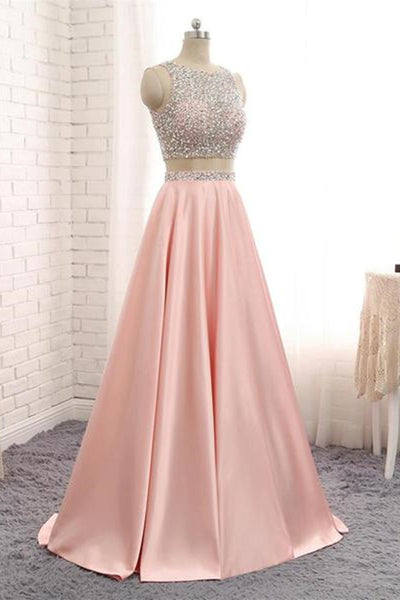 A Line Round Neck Two Pieces Beaded Pink Prom Dresses, Two Pieces Pink Formal Dresses, Pink Evening Dresses