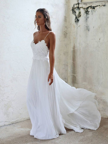 A Line Spaghetti Straps Backless Lace White Beach Wedding Dresses, White Backless Lace Long Prom Dresses, White Formal Dresses