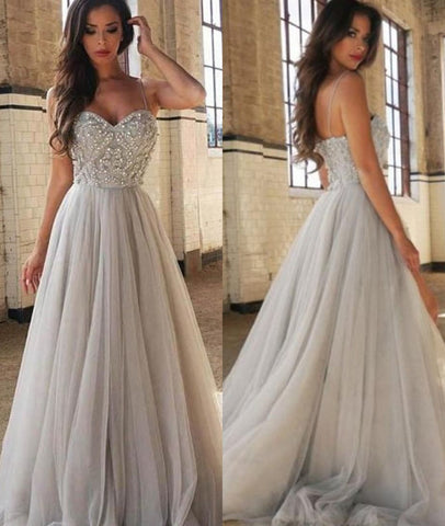 A Line Spaghetti Straps Backless Silver Gray Tulle Long Prom Dresses, Silver Gray Long Evening Dresses, Silver Gray Formal Dresses