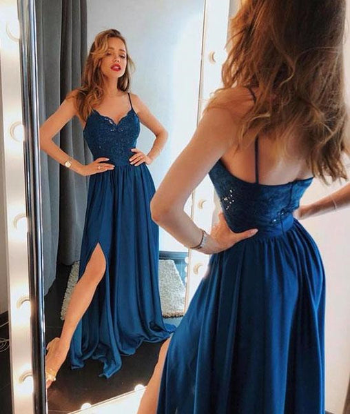 A Line Spaghetti Straps Lace Dark Blue Prom Dresses with Slit, Blue Lace Formal Dresses, Evening Dresses