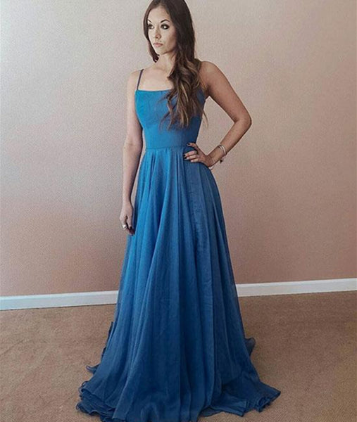 A Line Spaghetti Straps Sweep Train Blue Chiffon Long Prom Dresses with Cross Back, Blue Graduation Dresses, Evening Dresses