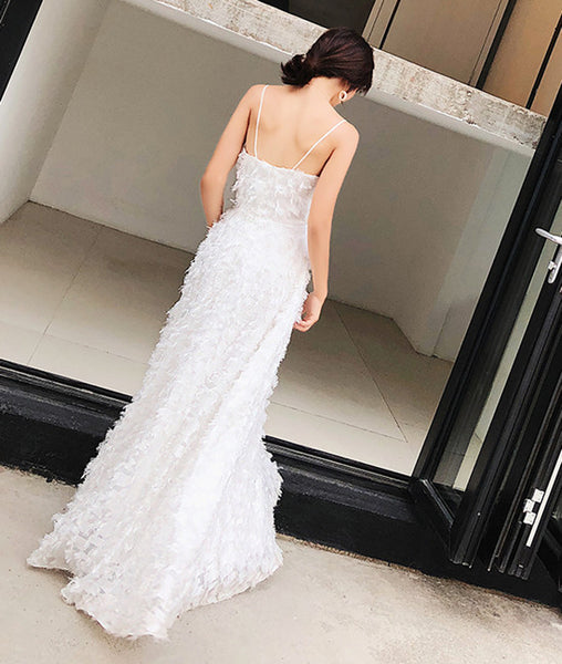 A Line Spaghetti Straps V Neck Backless White Lace Long Prom Dresses, White Lace Formal Dresses, Evening Dresses
