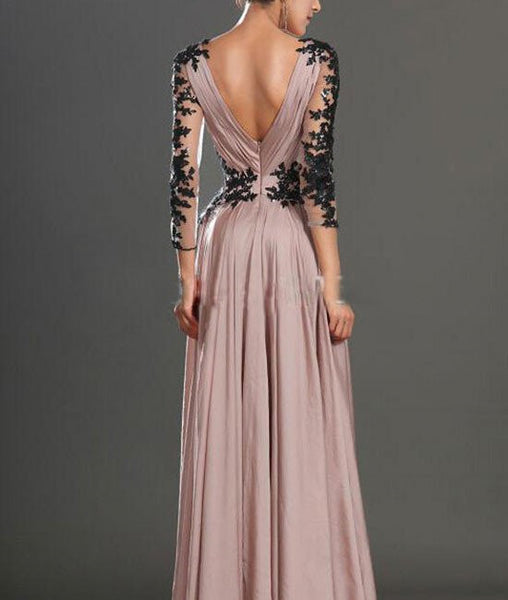 A Line Sweetheart Neck Lace Sleeve Chiffon Prom Dresses, Lace Evening Dresses, Formal Dresses