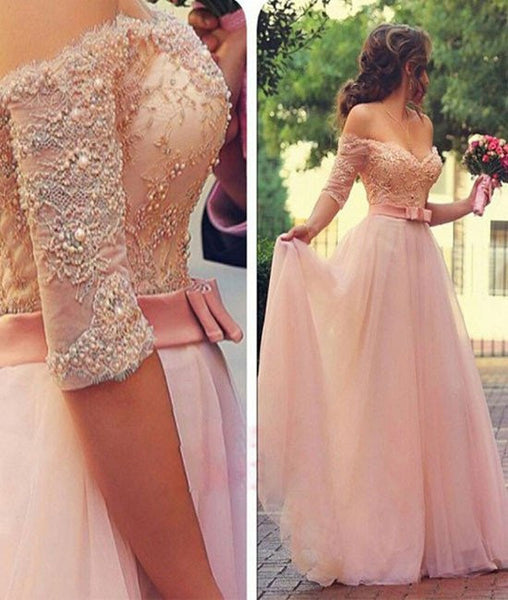 A Line Sweetheart Neck Beaded Lace Pink Prom Dresses, Lace Pink Formal Dresses