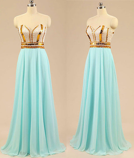 A Line Sweetheart Neck Chiffon Long Light Green Prom Dresses, Light Green Evening Dresses With Golden Lines