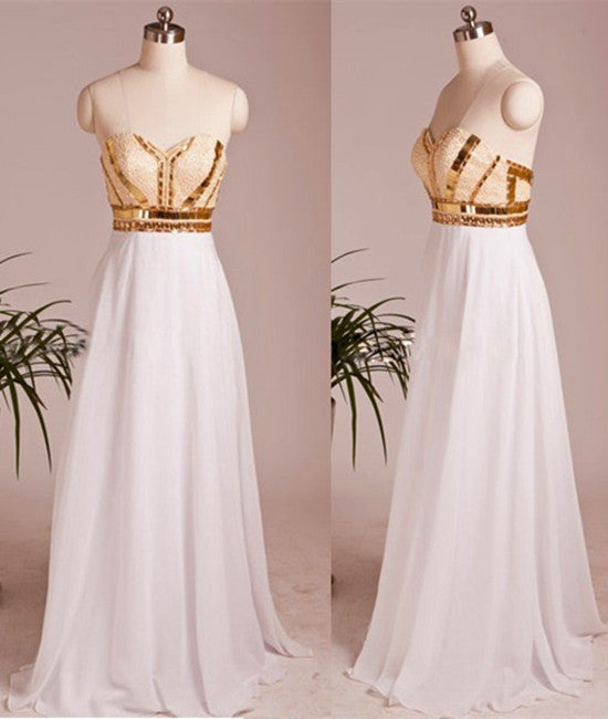 A Line Sweetheart Neck Chiffon Long White Prom Dresses, White Evening Dresses With Golden Lines