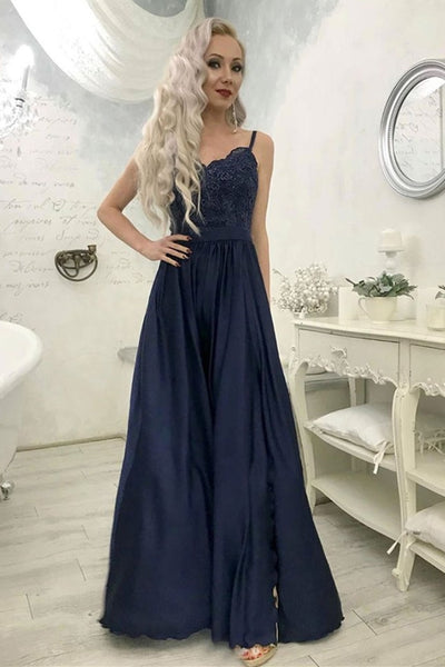 A Line Sweetheart Neck Lace Navy Blue Long Prom Dress with split, Navy Blue Lace Formal Graduation Evening Dress