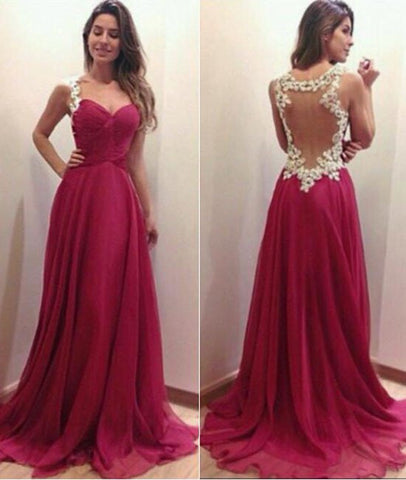 A Line Sweetheart Neck Lace Red Prom Dresses, Lace Red Formal ...
