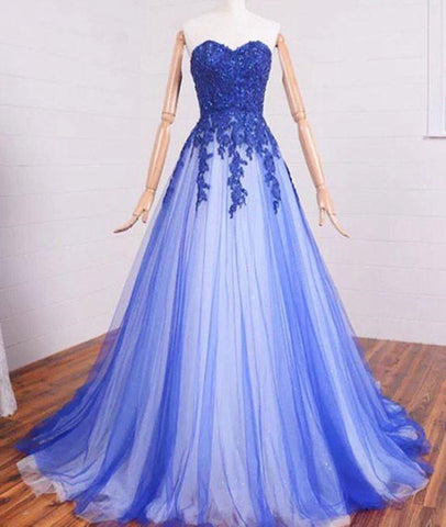 A Line Sweetheart Neck Lace Tulle Blue Long Prom Dresses, Blue Formal Dresses, Blue Lace Evening Dresses