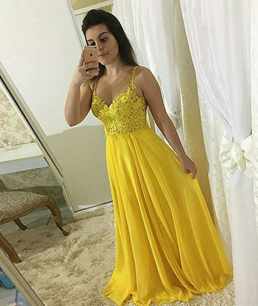 A Line Sweetheart Neck Lace Yellow Chiffon Long Prom Dresses, Yellow Lace Formal Evening Dresses, Yellow Graduation Dresses