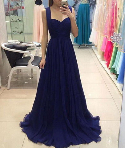 A Line Sweetheart Neck Royal Blue Chiffon Long Prom Dresses, Royal Blue Formal Graduation Evening Dresses, Royal Blue Bridesmaid Dresses