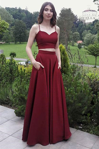 A Line Sweetheart Neck Two Pieces Burgundy Prom Dresses, Two Pieces Burgundy Formal Dresses, Burgundy Evening Dresses