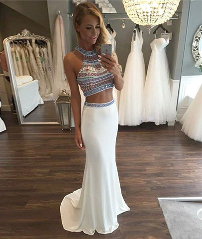 A Line Two Pieces Chiffon White Prom Dresses, Evening Dresses
