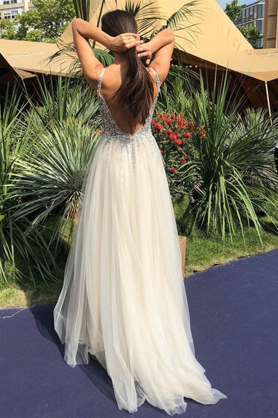 A Line V Neck Backless Beaded Ivory Prom Dresses, Ivory Backless Formal Dresses, Ivory Evening Dresses