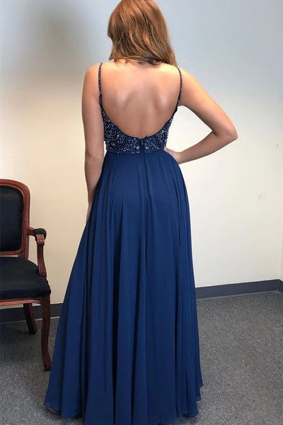 A Line V Neck Backless Beaded Navy Blue Prom Dresses with Slit, Backless Navy Blue Formal Dresses, V Neck Navy Blue Evening Dresses