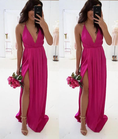 A Line V Neck Backless Fuchsia Long Prom Dresses with High Slit, V Neck Fuchsia Formal Graduation Evening Dresses with Slit