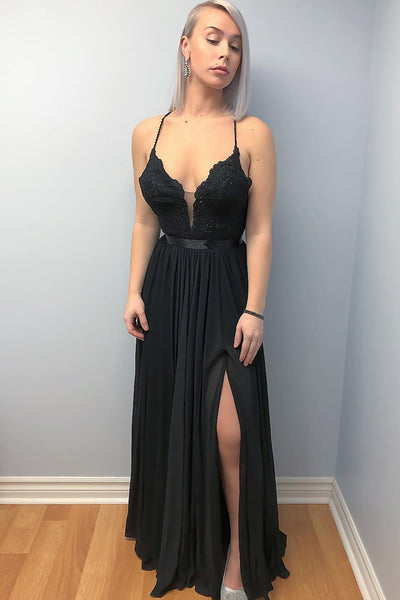 A Line V Neck Backless Lace Black Long Prom Dress with Leg Slit, Black Backless Lace Formal Dress, Black Lace Evening Dress
