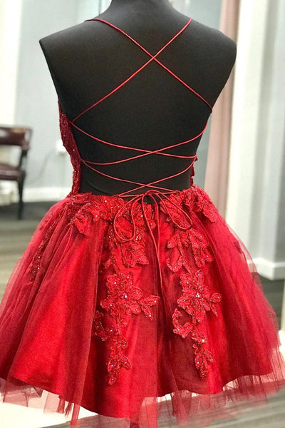 A Line V Neck Backless Lace Red Short Prom Dress Homecoming Dress, Backless Red Lace Formal Graduation Evening Dress